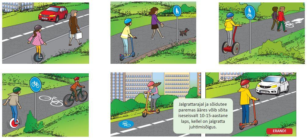 Jalgrattarajal ja sõidutee paremas ääres võib sõita iseseisvalt 10-15-aastane laps, kellel on jalgratta juhtimisõigus.